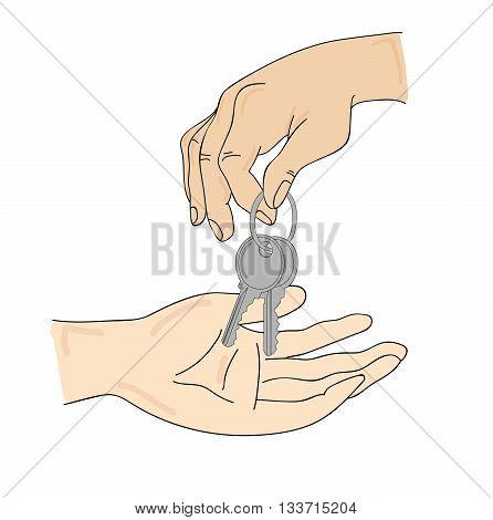 transmit keys from hand to hand. vector illustration
