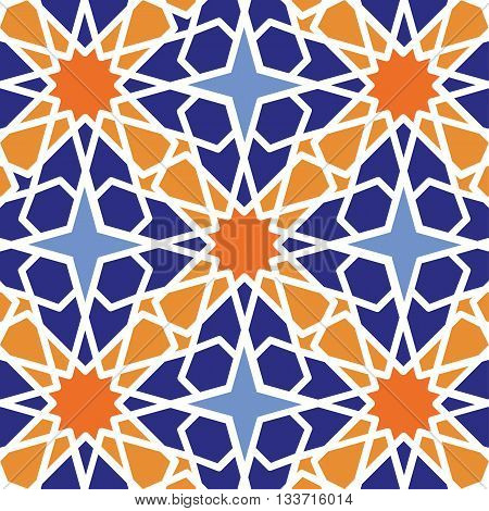 Seamless pattern.Vector abstract background.Arabic islamic motif, Geometrical ornament.Vector muslim, traditional mosaic diagonal backdrop.Vintage wallpaper, religious linear texture, polygon template