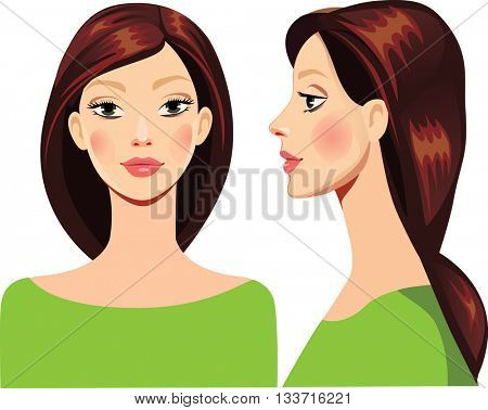portrait of face girl in straight and profile
