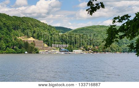 Boats moored at marina on Cheat Lake near Morgantown West Virginia