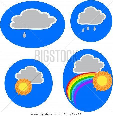 Four icons of weather: clouds, sun, rain, rainbow. Vector illustration.