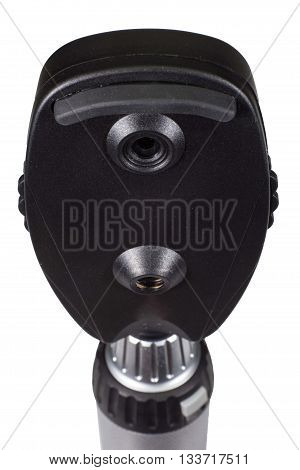 Ophthalmoscope back view with handle on white background. Medical equipment for the treatment of eye.