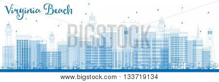 Outline Virginia Beach (Virginia) Skyline with Blue Buildings. Business Travel and Tourism Concept with Modern Buildings. Image for Presentation, Banner, Placard and Web Site