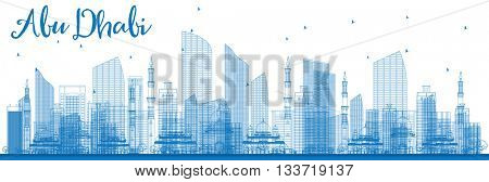Outline Abu Dhabi City Skyline with Blue Buildings. Business Travel and Tourism Concept with Modern Buildings. Image for Presentation, Banner, Placard and Web Site.