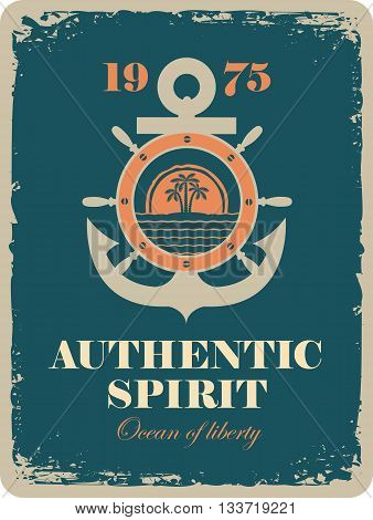 banner with an anchor and a ship steering wheel with sea view and palm tree with the inscription authentic spirit