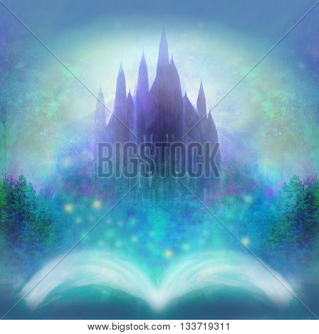 Magic world of tales fairy castle appearing from the book , raster