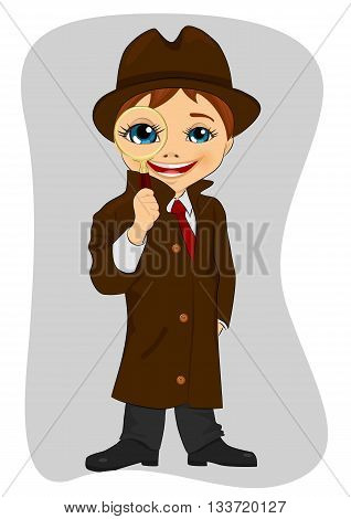 Detective boy looking through magnifying glass on gray background