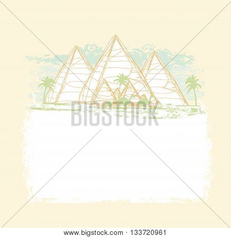 vintage background with pyramids giza , vector ilustrator