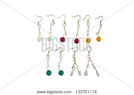 Set of various earrings isolated on white background