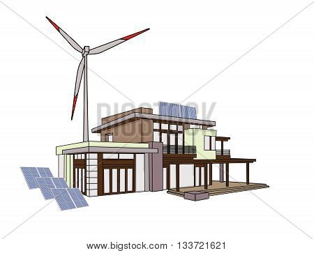 Modern family house with solar panels and wind turbines