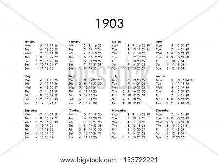 Calendar Of Year 1903