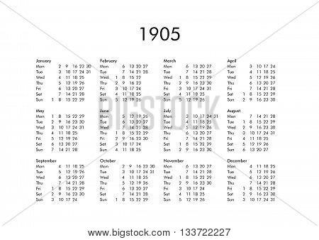 Calendar Of Year 1905