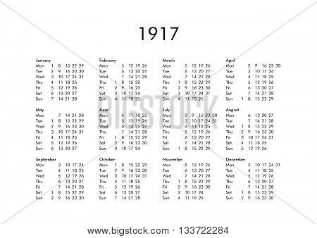 Calendar Of Year 1917
