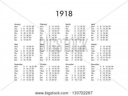Calendar Of Year 1918
