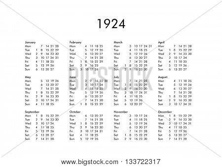 Calendar Of Year 1924
