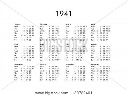 Calendar Of Year 1941