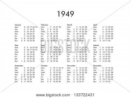 Calendar Of Year 1949