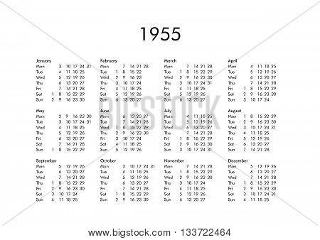 Calendar Of Year 1955