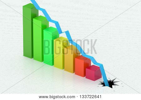 Falling colored bar chart 3D rendering on the checkered background