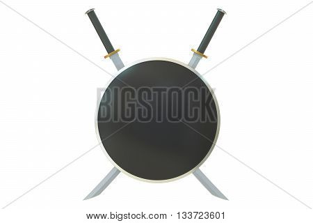 Two crossed Japanese samurai katana swords and shield 3D rendering