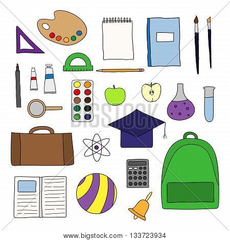Hand drawn school and university icons isolated on white background. Paints palette apple ruler backpack ball pen notebook bell brushes loupe protractor calculator mortar board.