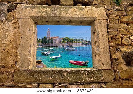 Hvar island church and stone beach window view Dalmatia Croatia