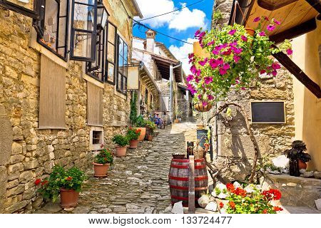Town of Hum colorful old stone street Istria Croatia