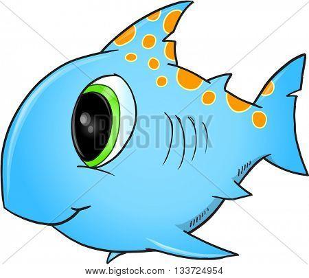 Happy Blue Shark Vector Illustration