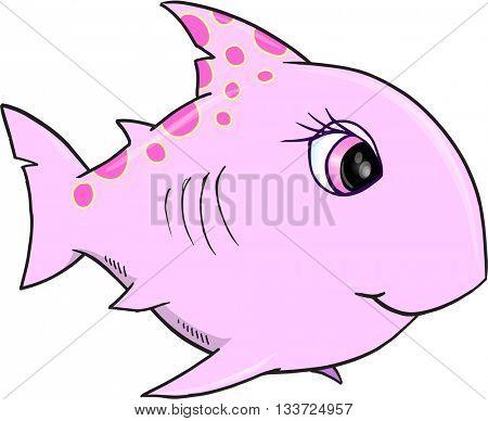 Cute Pink Shark Vector Illustration