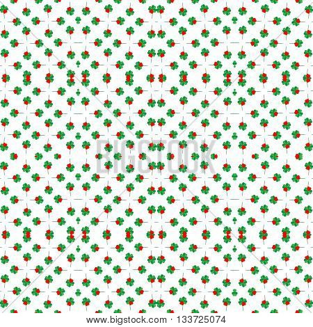 Seamless shamrock background pattern with red heart leaf Saint Patrick's day