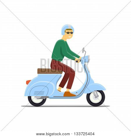 Moped Flat vector illustration. Boy. Retro design