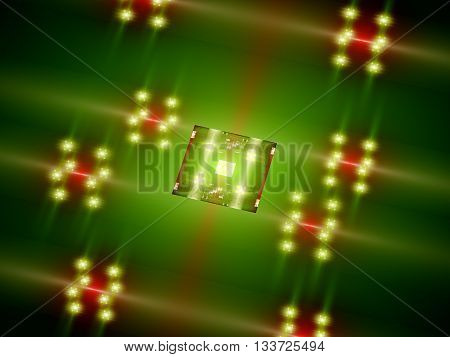 Futuristic green processor core CPU or GPU computer generated abstract background