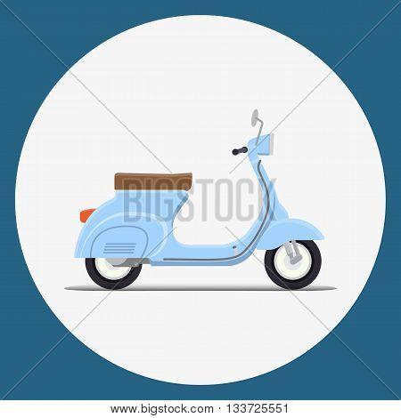 Blue Moped Flat vector illustration. Retro design
