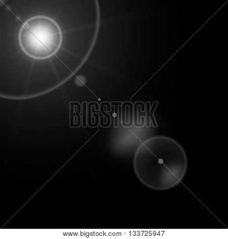 Summer sun with realistic 35mm lens flare lights and glow on black background. Graphic illustration