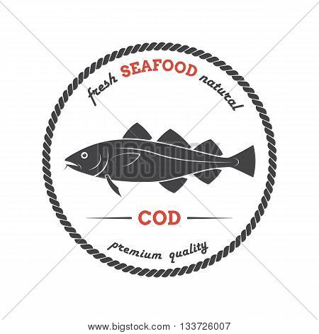 Vector cod silhouette. Cod label. Template for stores markets food packaging. Seafood illustration.