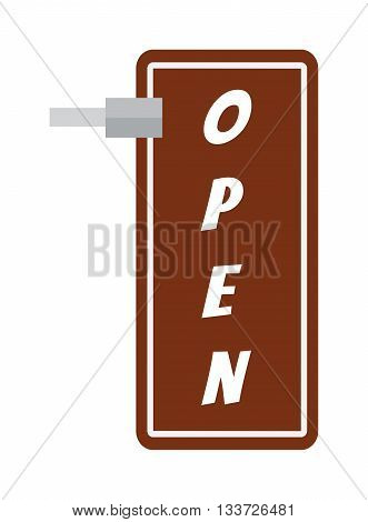 Vector open door sign. Label with text open sign in flat style. Vector illustration open sign door information retail design and open sign market label welcome signboard cafe service symbol.