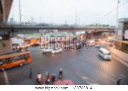 Blurred Junction Traffic Jam On The Road In Bangkok
