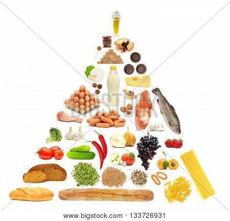 Food Pyramid with more food on white