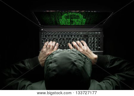 Hacker at work high quality studio shot