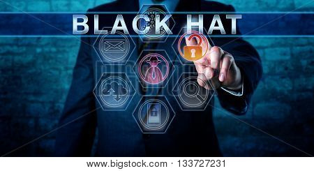Forensic investigator touching BLACK HAT on a virtual control display. An unlocked padlock icon and a virtual hacker symbol do light up. Cybercrime concept for a criminal hacking for personal gain.
