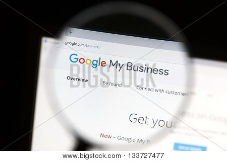 Ostersund, Sweden - June 10, 2016  Closeup of Google My Business website under a magnifying glass. Google My Business is a free and easy-to-use tool for businesses, brands, artists, and organizations