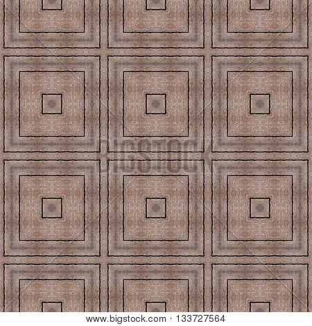 Old decorated eco wood door with square panels pattern made seamless