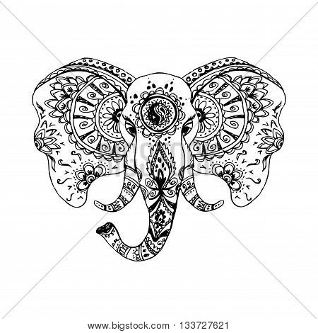 Vector abstract elephant in Indian style mehndi.Vector hand drawing isolated on white background