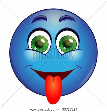 Blue emoticon showing tongue on a white background. Vector