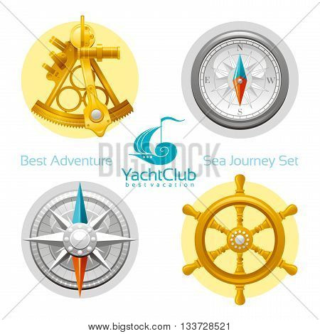 Sea travel icon set with seafaring icons sextant, compass, compass rose, vintage wheel