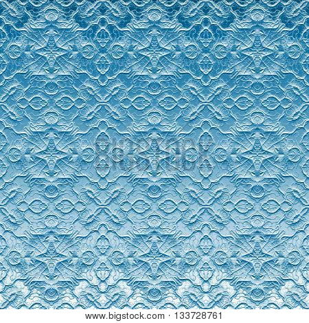 Ornamental embossed sanded blue glass pattern on window made seamless