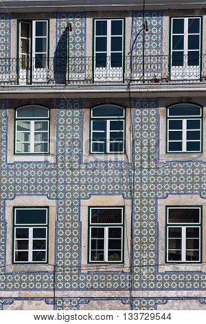 Lisbon buildings with typical traditional portuguese tiles on the wall in Lisbon Portugal