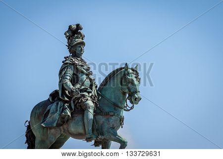 statue of King Jose on the Commerce square (Praca do Comercio) in Lisbon Portugal