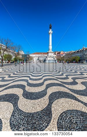 Lisbon Portugal cityscape at Rossio Square Europe