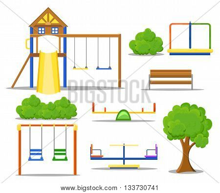 Playground flat icons set with swing carousels slides and stairs isolated.